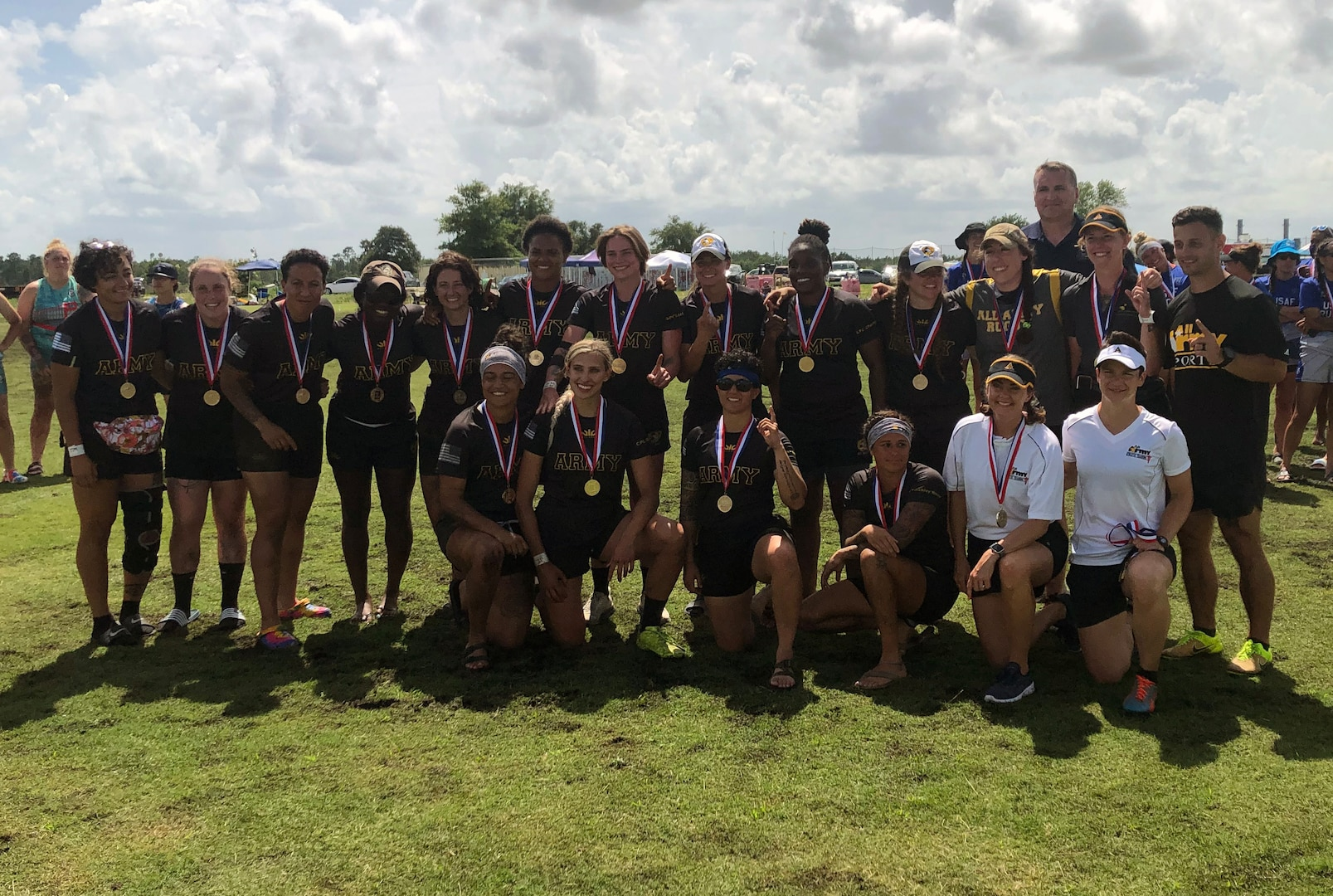 Army wins gold at the 2021 Armed Forces Rugby Championship held in conjunction with the 2021 Cape Fear Rugby Sevens Tournament, held from 24-28 June.  Service members from the Army, Marine Corps, Navy, Air Force (with Space Force personnel) and Coast Guard battle it out for gold.  (Department of Defense Photo, Released)