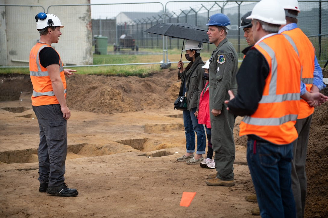 U.S. Air Force Col. Jason Camilletti, 48th Fighter Wing commander, attends a tour of an archaeological dig on Royal Air Force Lakenheath, England, June 17, 2021. Liberty Wing Members recently halted construction on base when finding indications of ancient graves and artifacts dating back to 100 B.C shortly after excavation began. (U.S. Air Force photo by Airman 1st Class Cedrique Oldaker)