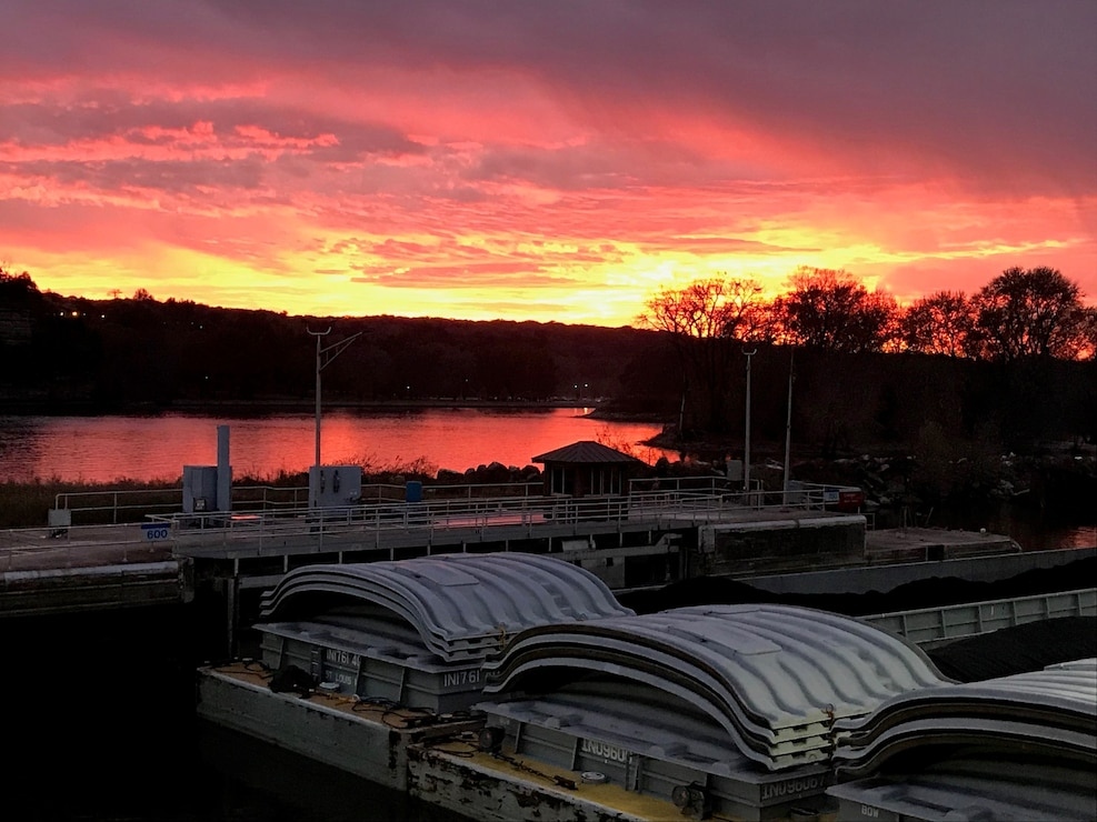 Sunset view from the Illinois Waterway Visitor Center at Starved Rock Lock and Dam in Ottawa, Illinois.