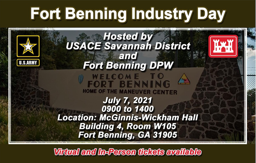 Join us at Industry Day!  The event will include presentations focusing on upcoming USACE and US Army Fort Benning contract opportunities as well as a Q&A session and industry matchmaking.