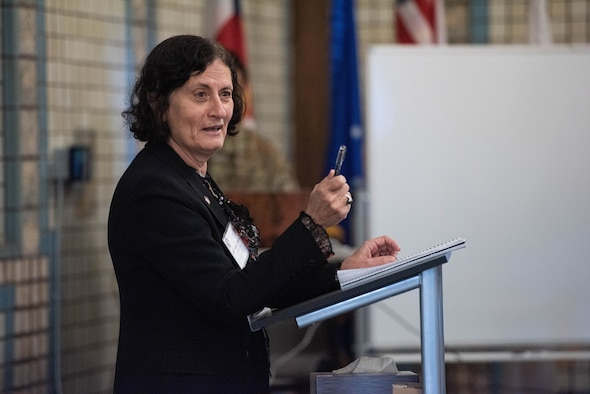 Dr. Victoria Coleman, chief scientist, Department of the Air Force, speaks to the audience at the 2021 USSF Space Futures Work in Colorado Springs, Colo., June 2, 2021. Coleman serves as the chief scientific adviser to the Secretary of the Air Force, Air Force Chief of Staff, and Chief of Space Operations. She provides assessments on a wide range of scientific and technical issues affecting the department's mission.