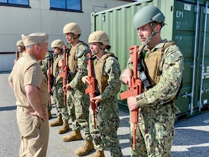 NEWPORT, R.I. (June 28, 2021) - Chief of Naval Operations (CNO) Adm. Mike Gilday visits with Sailors during a trip to Naval Station Newport, Rhode Island.(U.S. Navy photo by Cmdr. Nate Christensen/Released)