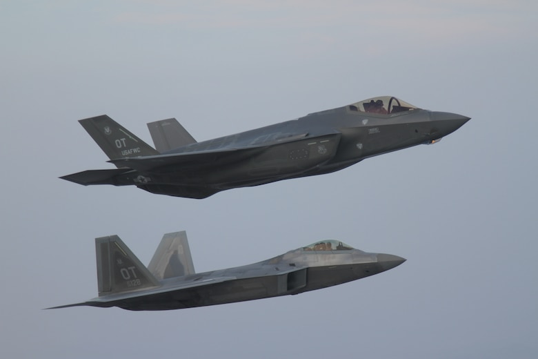 An F-35A Lightning II flies with an F-22 Raptor to test interoperability between the two aircraft platforms. A team of engineers, analysts, and pilots from the United States Operational Test Team, or UOTT, and Air Force Operational Test and Evaluation Center Detachment 6 are pushing the boundaries of F-35 combat aircraft operational testing.
