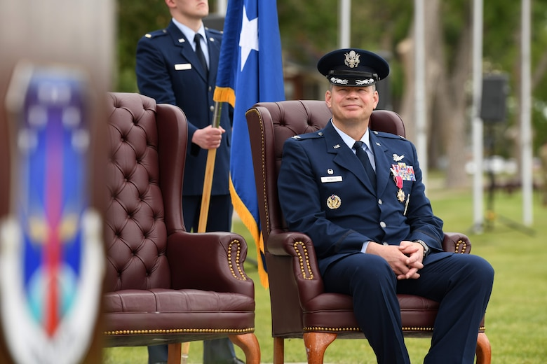The ceremony signified the transition of command from Col. Peter Bonetti to Col. Catherine Barrington. (U.S. Air Force photo by Airman 1st Class Anthony Munoz)