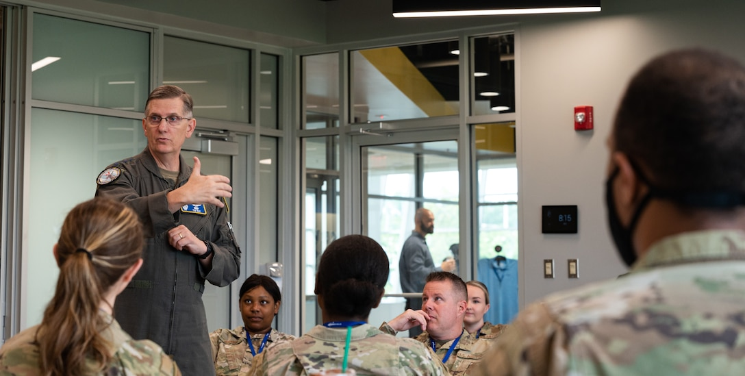 Gen. Timothy Ray, Air Force Global Strike Command commander, welcomes participants and gives introductory remarks during the AFGSC Peer Influencer Conference at the Cyber Innovation Center in Bossier City, Louisiana, June 21, 2021. Victim advocates and peer influencers from installations across AFGSC came together to share ideas and best practices to tackle sexual assault prevention and response. (U.S. Air Force photo by Airman 1st Class Jonathan E. Ramos)