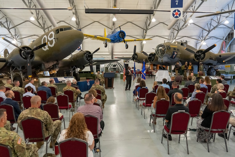 Retirement ceremony for Colonel G. Brian Eddy at Dover Air Force Base, Delaware, June 28, 2021. (U.S. Air Force photo by Jason Minto)