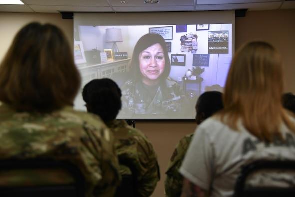 airmen listen to CMSAF