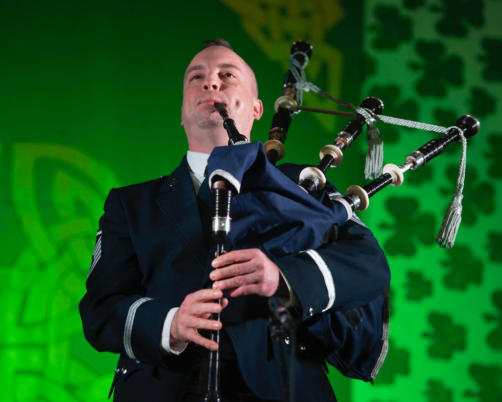 Celtic Aire's performances at the Alaska Scottish Highland Games in Palmer, Alaska will feature expanded instrumentation that includes performances by Master Sgt. Adam Tianello on bagpipes. Master Sgt. Tianello (pictured above) is the U.S. Air Force's only bagpiper. Here, Master Sgt. Tianello performs at the North Texas Irish Festival in March 2020. (U.S. Air Force photo by Staff Sgt. Jared Duhon)