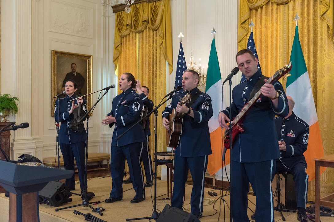 Celtic Aire performs at the White House in March 2019. Pictured left to right: Senior Master Sgt. Emily Wellington, Master Sgt. Julia Cuevas, Senior Master Sgt. Joe Haughton, and Master Sgt. Eric Sullivan. (U.S. Air Force photo by Senior Master Sgt. (sel) Grant Langford)