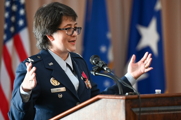 Col. Amanda G. Kato comments on highlights of her career during a retirement ceremony honoring her more than 29 years of service in the Air Force on June 18, 2021, at Hanscom Air Force Base, Massachusetts. She is the Air Force program executive officer for nuclear command, control and communications (NC3), as well as the director of NC3 integration for the Air Force Nuclear Weapons Center. (U.S. Air Force photo by Todd Maki)