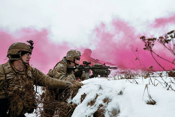 Battle Group Poland—multinational coalition of U.S., UK, Croatian, and Romanian soldiers who serve with Polish armed forces 15th Mechanized Brigade—performs winter live-fire training during Operation Raider Lighting, at Bemowo Piskie training area, Poland, January 16, 2019 (U.S. Army/Arturo Guzman)
