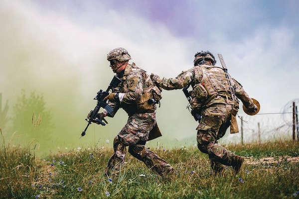 U.S. Army paratroopers assigned to 2nd Battalion, 503rd Infantry Regiment, 173rd Airborne Brigade, emplace brazier charge during exercise Rock Shock 2, in Grafenwoehr Training Area, August 12–13, 2019 (U.S. Army/Ryan Lucas)
