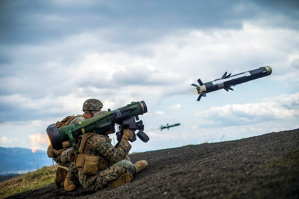 Antitank missile gunners with 3rd Battalion, 3rd Marines, fire Javelin missile while conducting live-fire combat rehearsal during Fuji Viper 21.3, at Combined Arms Training Center, Camp Fuji, Japan, April 12, 2021 (U.S. Marine Corps/Jonathan Willcox)