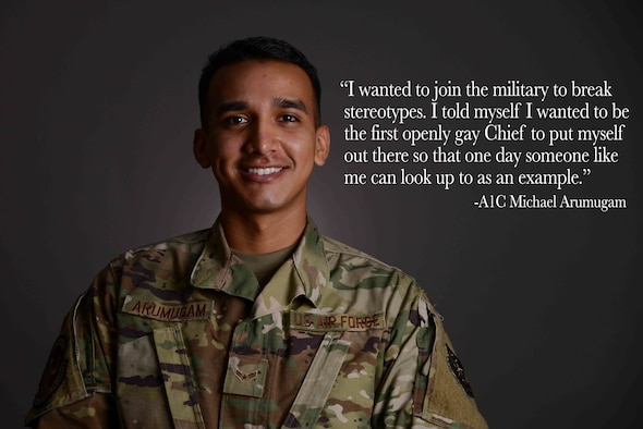 Airman 1st Class Michael Arumugam, 22nd Force Support Squadron retentions technician, poses for a photo June 16, 2021, at McConnell Air Force Base, Kansas. Arumugam shared his story of resiliency during Pride Month as part of the Beyond the Blue initiative. (U.S. Air Force photo by Senior Airman Nilsa Garcia)