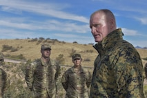 U.S. Marine Sgt. Maj. Paul McKenna thanks Soldiers for their hard work and dedication to an important mission at the Southwest Border in Nogales, Ariz.