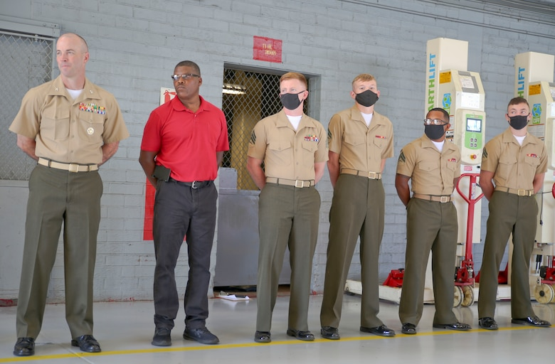 A new forklift simulator, complete with virtual reality goggles and a two-sided screen, allows for those in forklift training aboard Marine Corps Logistics Base Albany to see what they would see – and perform the same maneuvers – as if they were on a real forklift. Now in a dedicated space in the base's Garrison Mobile Equipment branch, it provides a way to train forklift drivers with an added layer of safety. The ribbon was cut on the investment June 25. (U.S. Marine Corps photos by Jennifer Parks)