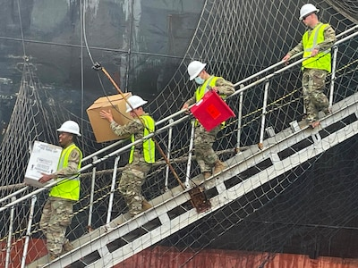 Virginia National Guard Soldiers conduct a mobile vaccination mission on board international ships in May and June 2021 in Norfolk, Virginia.