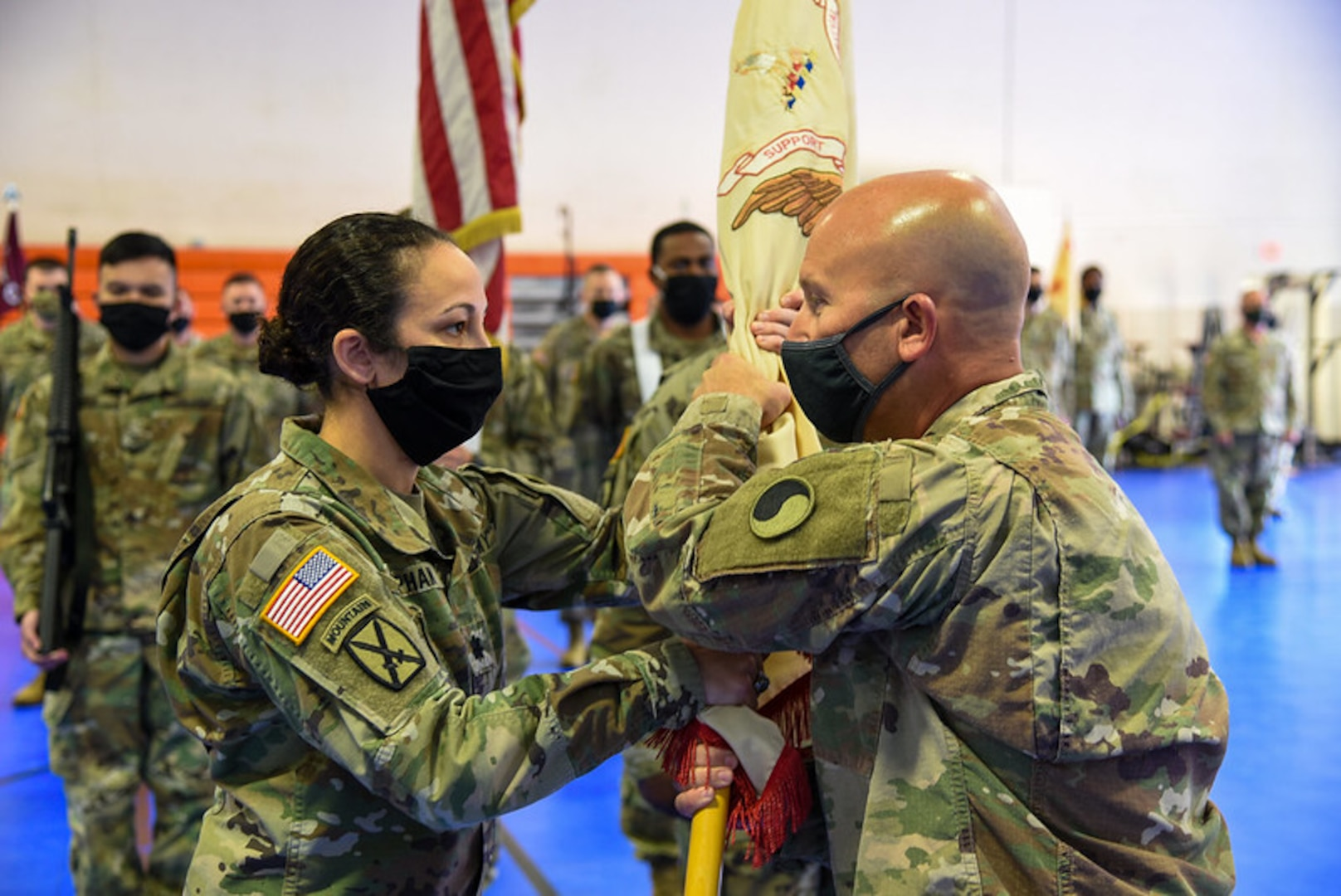 Lt. Col. Alyssa Y. Astphan takes command of the Danville-based 429th Brigade Support Battalion, 116th Infantry Brigade Combat Team from Lt. Col. Edwin R. Bochtler during a change of command ceremony Nov. 14, 2020, in Danville, Virginia. Col. Christopher J. Samulski, 116th IBCT commander, presided over the ceremony and the exchange of unit colors which signified the transfer of command from Bochtler to Astphan. (U.S. Army National Guard photo by Sgt. 1st Class Terra C. Gatti)
