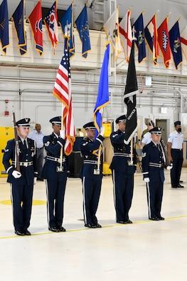 Guardsmen at the Peterson-Schriever Garrison change of command
