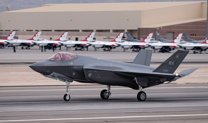 An F-35A Lightning II assigned to the 6th Weapons Squadron lands after a training mission at Nellis Air Force Base, Nev., March 16, 2021. The U.S. Air Force Weapons School provides academic and advisory support to numerous units, enhancing air combat training for Airmen from the Air Force, Department of Defense and U.S. allied services each year.