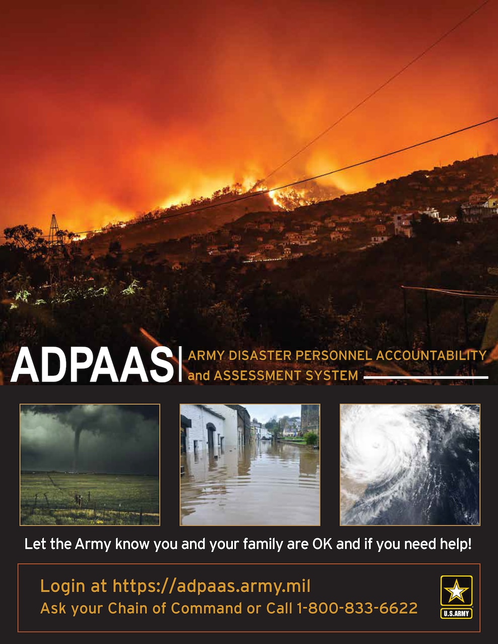 A poster includes images of disasters and information about the Army Disaster Personnel Accountability and Assessment System.