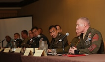 U.S. Marine Sgt. Maj. Paul G. McKenna provides a Marine's point of view during the Land Power in the Pacific Symposium and Exposition in Honolulu, Hawaii, May 24, 2016.