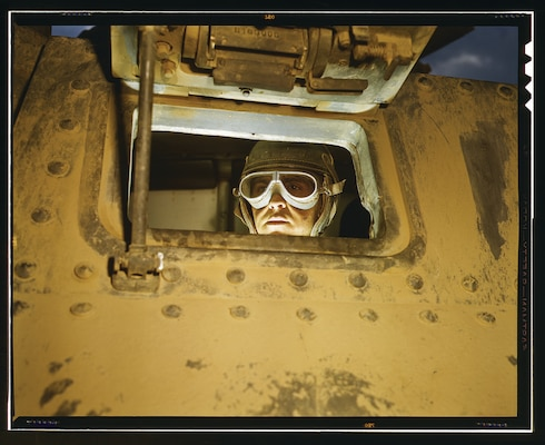Tank driver, at Fort Knox, Kentucky, June 1942 (Library of Congress/Alfred T. Palmer)