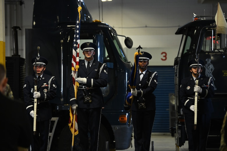 The honor guard stands for the presentation of the colors during the 90th Maintenance Group Change of Command Ceremony on F.E. Warren Air Force Base, Wyoming, on June 30, 2021. The change of command ceremony signifies the transition of command from Col. Brian Rico, the outgoing commander of 90 MXG, to Col. Michael Power, the incoming commander of 90 MXG. (U.S. Air Force photo by Airman 1st Class Frazier)