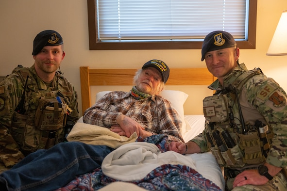 124th Security Forces Squadron defenders stepped in to help care for ailing retired Capt. William Brand, 96, who was a P-47 Thunderbolt pilot with the Eighth Air Force in Okinawa, Japan, during World War II. Brand lives in Hailey, Idaho, but regularly travels to Gowen Field in Boise to stay at on-base lodging when he has appointments at the Boise VA Medical Center.