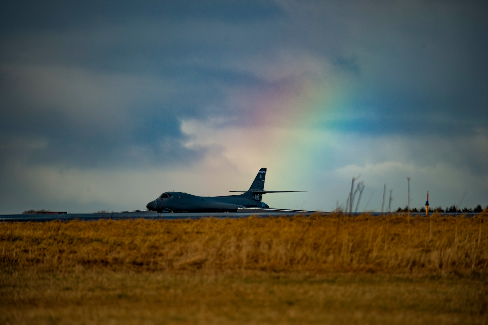 A B-1B Lancer assigned to the 9th Expeditionary Bomb Squadron taxis on the flightline at Ørland Air Force Station, Norway, Feb. 26, 2021. During the Bomber Task Force Europe deployment, the 9th EBS will integrate with ally and partner forces, providing key training for aircrew throughout the European theater and Arctic region. (U.S. Air Force photo by Airman 1st Class Colin Hollowell)