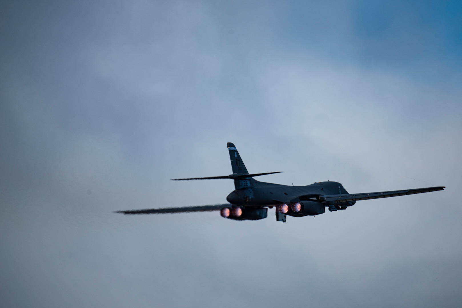 A B-1B Lancer assigned to the 9th Expeditionary Bomb Squadron takes off from Ørland Air Force Station, Norway, Feb. 26, 2021. Strategic bombers routinely participate in Bomber Task Force Europe training and operations to enhance the readiness necessary to respond to any contingency or challenge across the globe. (U.S. Air Force photo Airman 1st Class Colin Hollowell)
