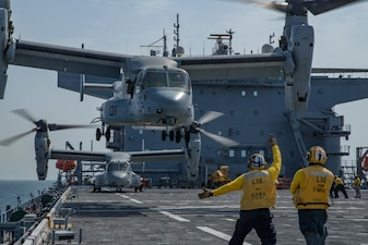 Marine Corps MV-22 Osprey take off from USS Lewis B. Puller (ESB 3).