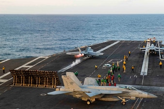USS Dwight D. Eisenhower (CVN 69) conducts flight operations.
