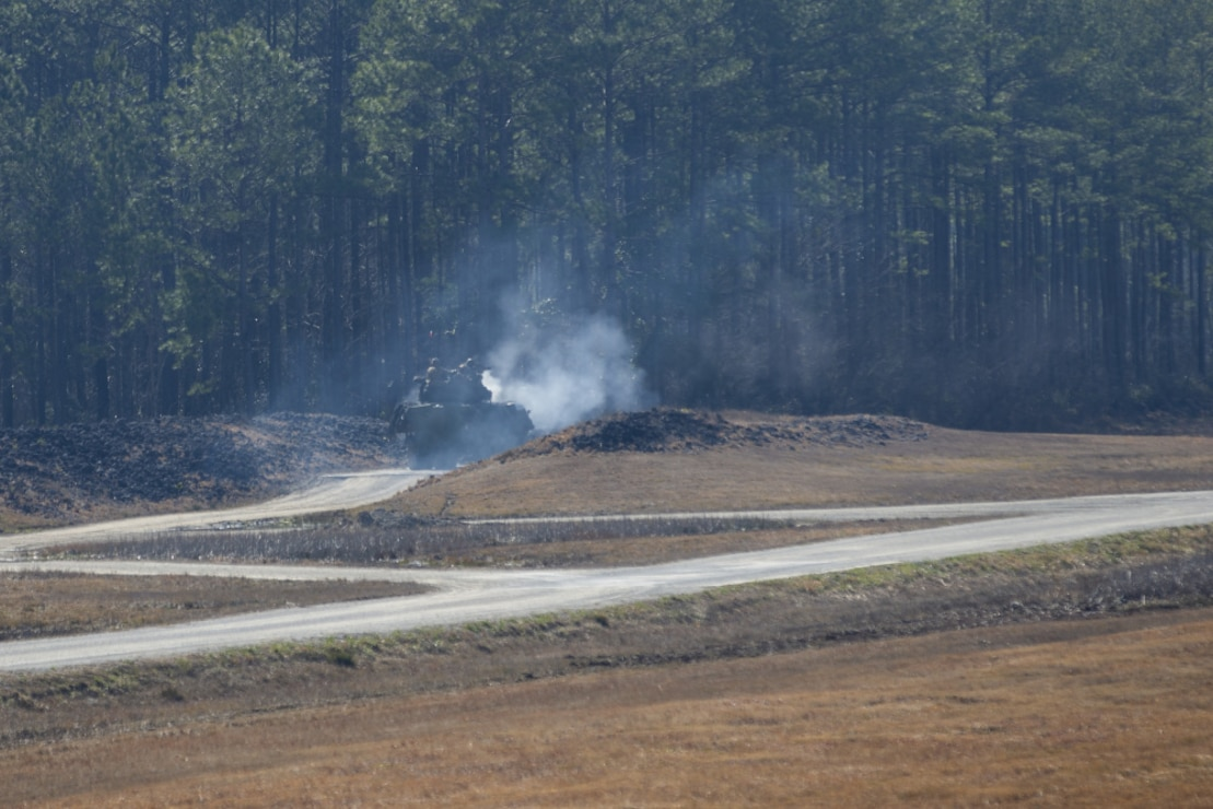 U.S. Marines with 2d Light Armored Reconnaissance Battalion, 2d Marine Division, fire an M242 Bushmaster weapon system during a semiannual gunnery qualification range on Camp Lejeune, N.C., Feb. 24, 2021. The qualification range tests the Marines decision making process by evaluating a wide variety of scenarios to eliminate enemy targets, as well as maintain combat lethality and readiness. (U.S. Marine Corps photo by Pfc. Sarah Hediger)