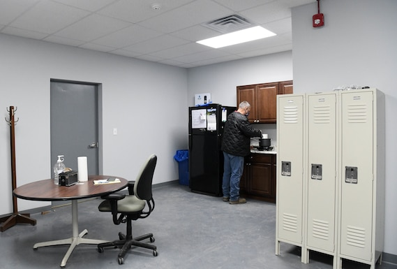 Bud Schell, a motor vehicle operator for the Arnold Air Force Base Services Recycling Program, prepares his lunch in the newly-constructed breakroom at the Recycling Facility at Arnold AFB, Tenn., Feb. 11, 2021. (U.S. Air Force photo by Jill Pickett)