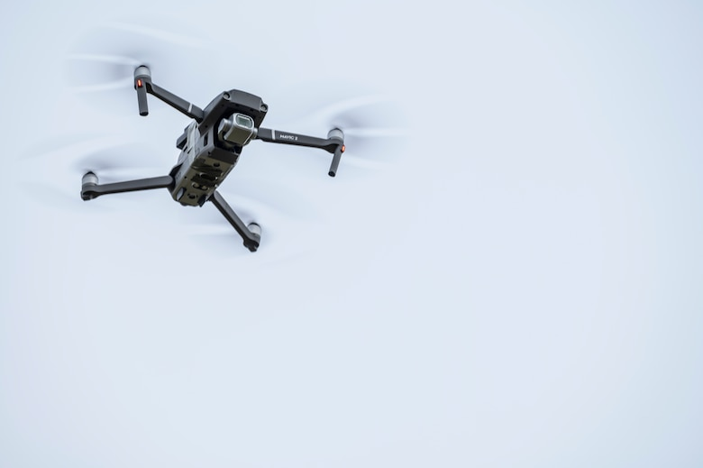 An unmanned aerial system hovers in the air during a Combined Joint All-Domain Command and Control demonstration at Ramstein Air Base, Germany, Feb. 22, 2021.