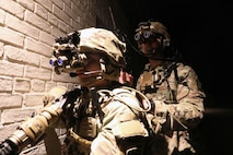 A Soldier from the 2-506, 101st Airborne Division don the Enhanced Night Vision Goggle (ENVG-B), Nett Warrior, and Family of Weapons Sight – Individual (FWS-I) during a live fire test event at a Soldier Touchpoint at Aberdeen Proving Ground, MD in February 2021.