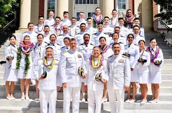 The 34 brand new Ensigns, pictured here, represent the largest group of Asian American and Pacific Islanders to graduate the Coast Guard Academy in May 2019—marking a step towards a more diverse and inclusive workforce. U.S. Coast Guard photo.