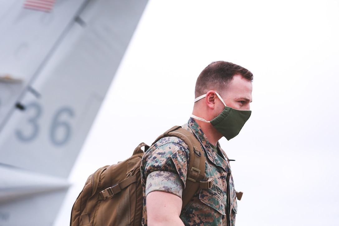 U.S. Marine Capt. Matthew Finnerty, communication strategy and operations officer with 2nd Marine Expeditionary Brigade, returns to Marine Corps Air Station New River, N.C., May 19, 2020, after providing Department of Defense support to the Federal Emergency Management Agency for the whole-of-nation COVID-19 Response. (U.S. Marine Corps photo by Sgt. Austyn Saylor)