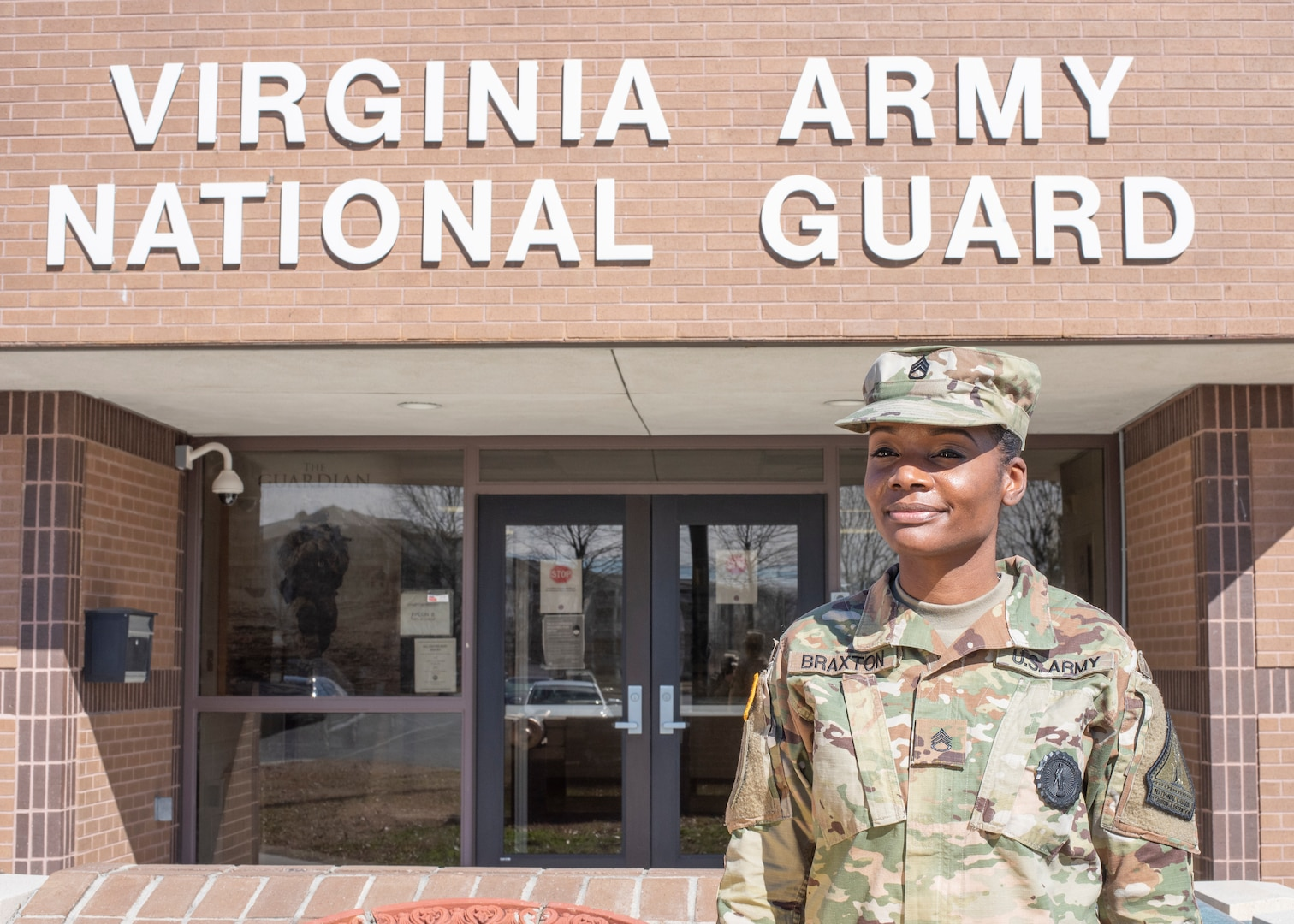 Virginia Army National Guard recruiter Staff Sgt. Monisha Braxton assigned to the Recruiting and Retention Battalion shares stories about her military experience and the commitments she made to herself Feb 24, 2021, in Hampton, Virginia. With 8 years of service in the National Guard, Braxton stresses the importance of sticking to your goals. (U.S. Army National Guard photo by Staff Sgt. Lisa M. Sadler)