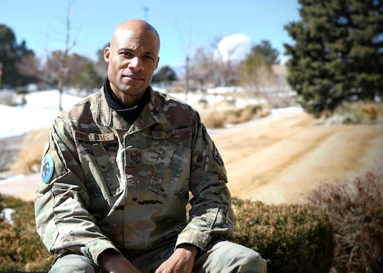Tech. Sgt Terry Williams, the 62d Cyberspace Squadron NCO in charge of Cyber Integration, poses for a photo at Buckley Air Force Base, Colo., March 1, 2021.