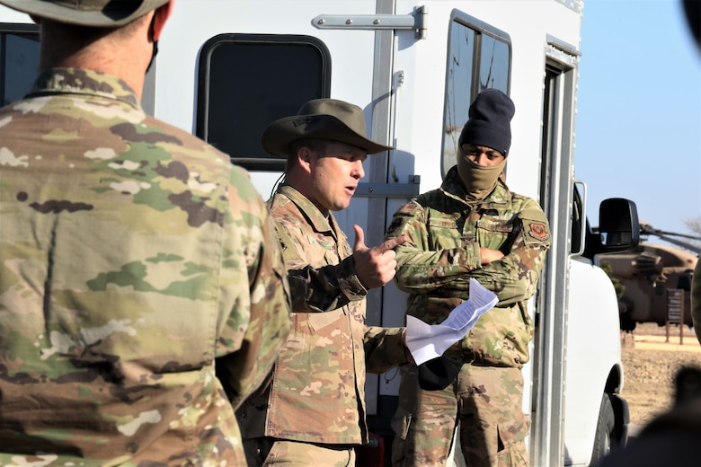 Senior Master Sgt. Orion O'Neil, 9th Air Maintenance Squadron assistant superintendent, discussed the air commando bush hat's origins and significance, also known as the AFSOC heritage hat.   Photo by:  Kathryn S. Hiss, 1st Lt, USAF 9th AMU OIC 27 SOAMXS/MXAG