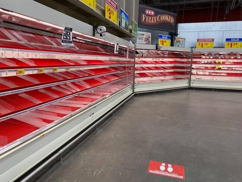 Meat shelves are barren in a local grocery store from the snowstorm, in San Angelo, Texas, Feb. 20, 2021. The storm created a local emergency and many members of Goodfellow Air Force Base were affected in some way from the lack of water, food, electricity and heat. (Courtesy photo)
