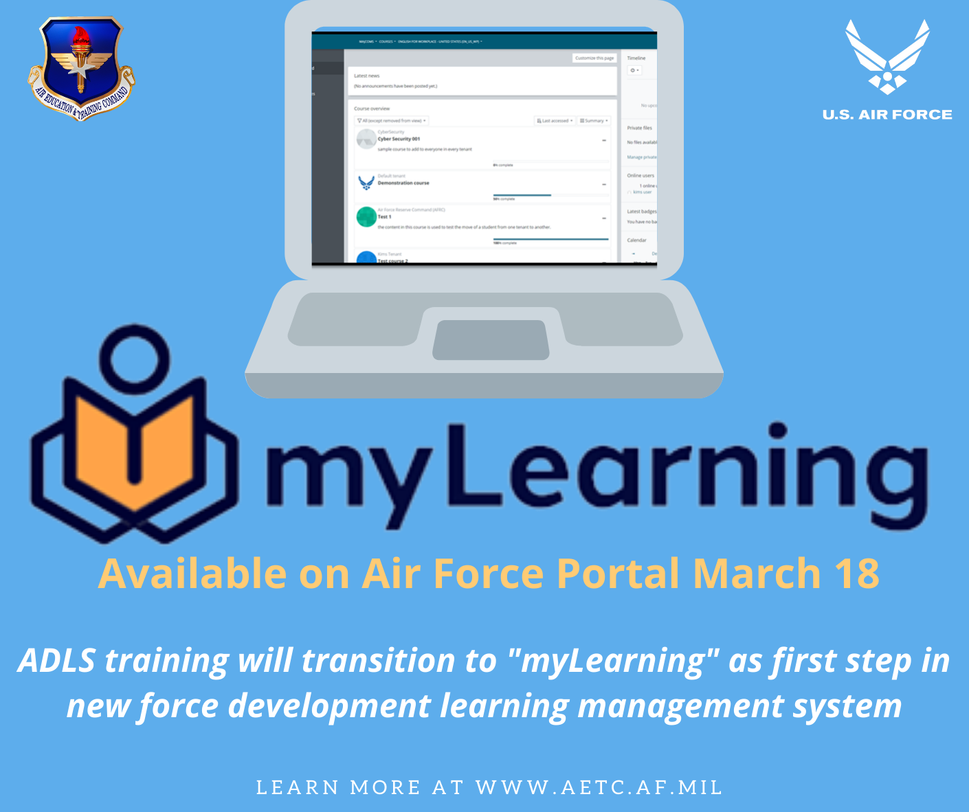 """ADLS training transitions to """"myLearning"""" in first step for new ..."""