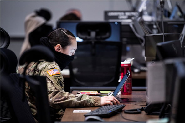 Lt Col Jacqlyn L. Combs, U.S. Air Force Civilian at the AFSAC Directorate and U.S. Army National Guardsman, received emergency orders to support COVID-19 relief, managing logistics and supply of critical Personal Protective Equipment.