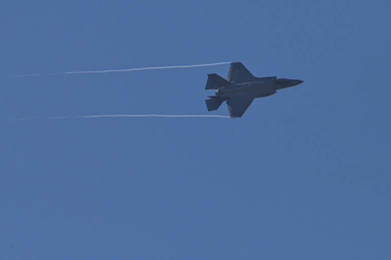 A Royal Netherlands Air Force F-35 Lightning II performs a low pass flyby during a Combined Joint All Domain Command and Control demonstration at Ramstein Air Base, Germany, Feb 25, 2021.