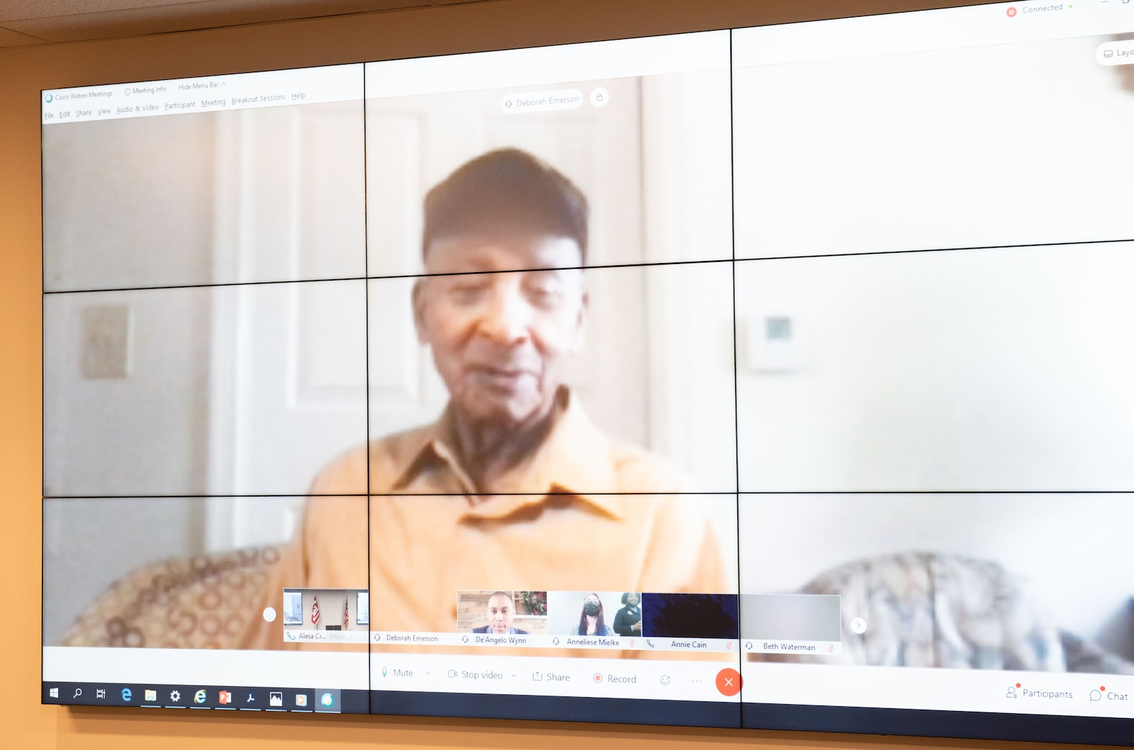 Staff Sgt. Buddy C. Reynolds, a 100 year old WWII veteran speaks about his life and time in the Army to members of the U.S. Army Corps of Engineers Transatlantic Division and Middle East District during a virtual Black History Month event.