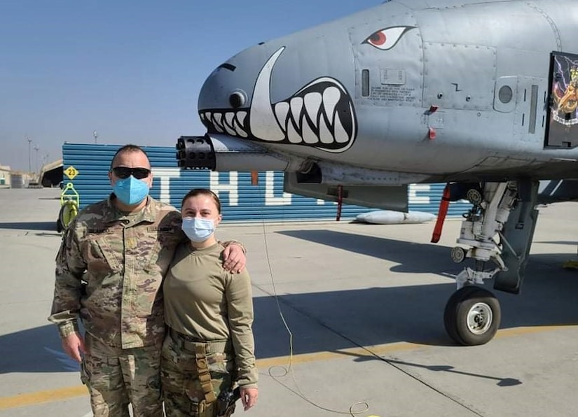 A green and blue family reunion: Army father's brief meet-up with Air Force daughter in Afghanistan