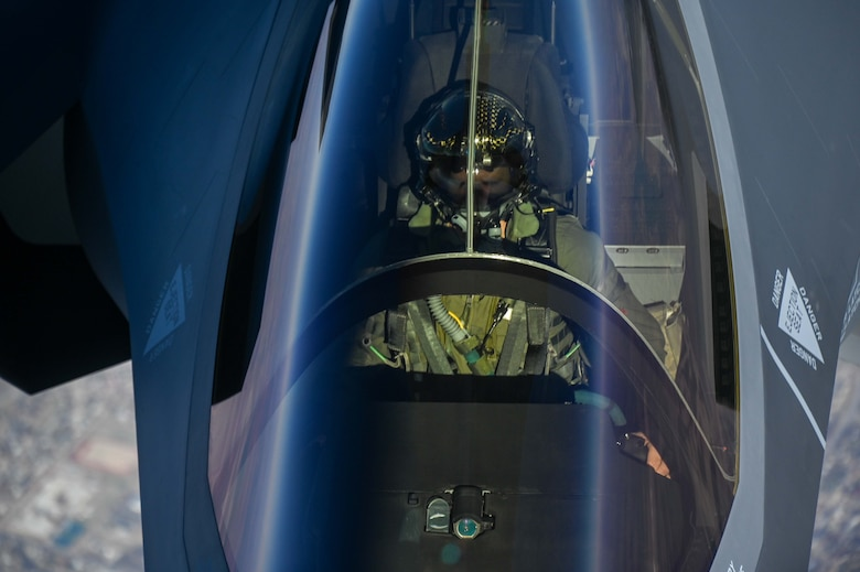 An F-35 Lightning II from the Defense Contract Management Agency conducts its first flight and first tanking with a KC-135R Stratotanker from the 465th Air Refueling Squadron, Tinker Air Force Base, Oklahoma, Feb. 24, 2021. Once fully tested this F-35 will join the fleet at Eielson Air Force Base, Alaska. (U.S. Air Force photo by Senior Airman Mary Begy)