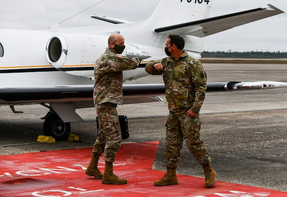 U.S. Army Lt. Gen. Scott A. Spellmon, Commanding General of the U.S. Army Corps of Engineers, greets U.S. Air Force Col. Greg Moseley, 325th Fighter Wing commander, at Tyndall Air Force Base, Florida, March 2, 2021. Spellmon visited Tyndall to engage with leadership and gain a better understanding of strategic objectives. (U.S. Air Force photo by Staff Sgt. Stefan Alvarez)